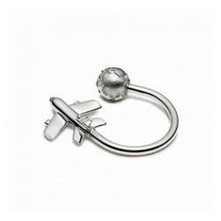 Plane And Globe Key Ring